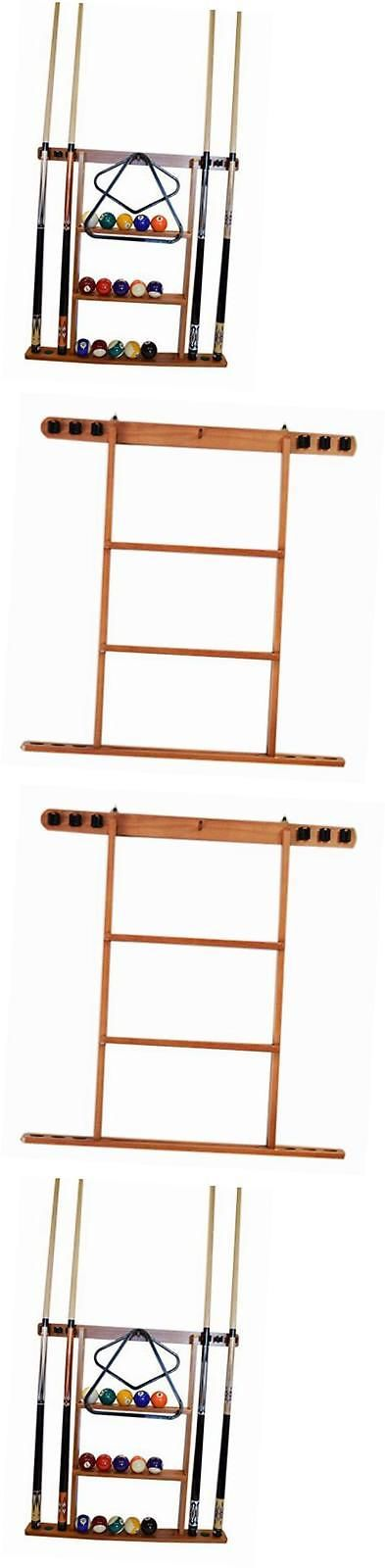 Ball and Cue Racks 75185: 6 Pool Cue - Billiard Stick Wall Rack Oak Finish Billiards Pool Cue Rack -> BUY IT NOW ONLY: $47.25 on eBay!