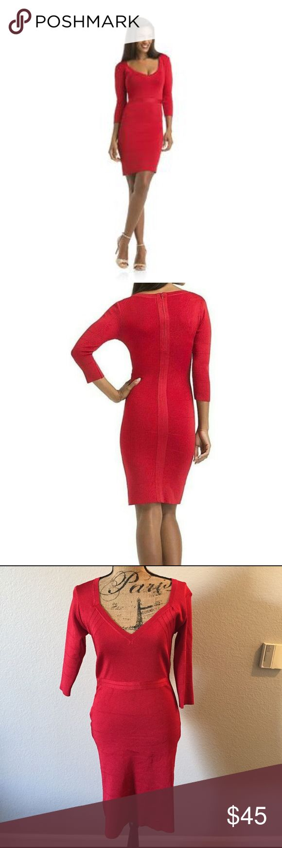 Kardashian Kollection Red Bandage Dress This beautiful dress is in perfect condition! Kardashian Kollection Dresses