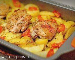 курица с картошкой и чесноком в духовке