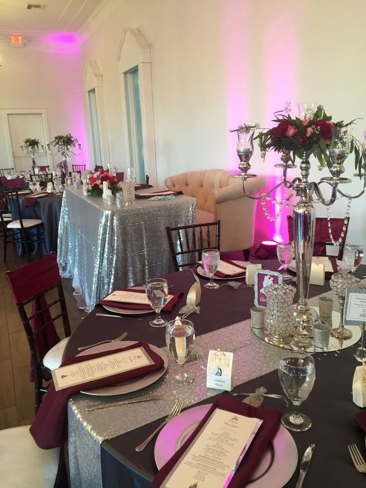 Silver Sequin Linen On Sweetheart Table And Rented Silver