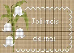 fleur - flower - muguet - point de croix - cross stitch - Blog : http://broderiemimie44.canalblog.com/:
