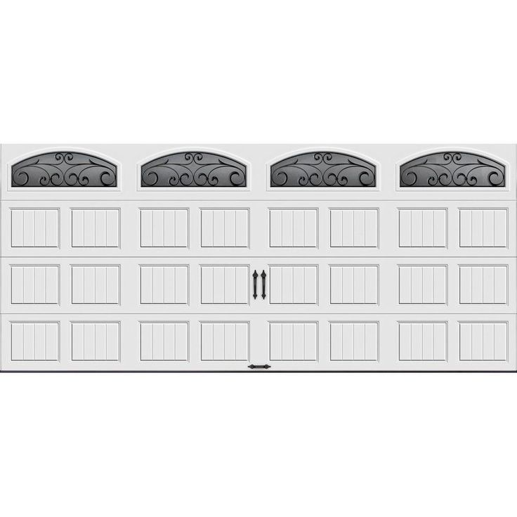 Clopay Gallery Collection Steel Garage Door 16u0027 X 7u0027 With Arch Wrought Iron  Decorative