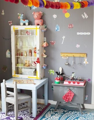 I love the idea of taking a little vintage table, or basic piece of furniture and altering it to be a little pretent kitchen or other creative play table | the boo and the boy: eclectic kids' rooms