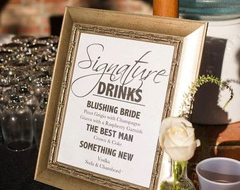 8 x 10 Signature Drink Sign   Appley Ever AFter Martini Drink Sign Fall/Autumn Wedding Decoration Unframed, Laser Printed Art on Card Stock  AS IT IS The base price of this listing is for the sign pictured in the first image (PIC #1) of this listing, as it is, with NO CHANGES to the header, text or illustration. (You may select a border from the choices shown in PIC #5.)  UPGRADE & PERSONALIZE IT Go beyond changing only the border & purchase the upgrade which allows you to person...