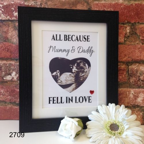 All Because Mummy & Daddy Fell In Love Scan Picture.  #babyscan #mummy #daddy #scanpicture #babyshower