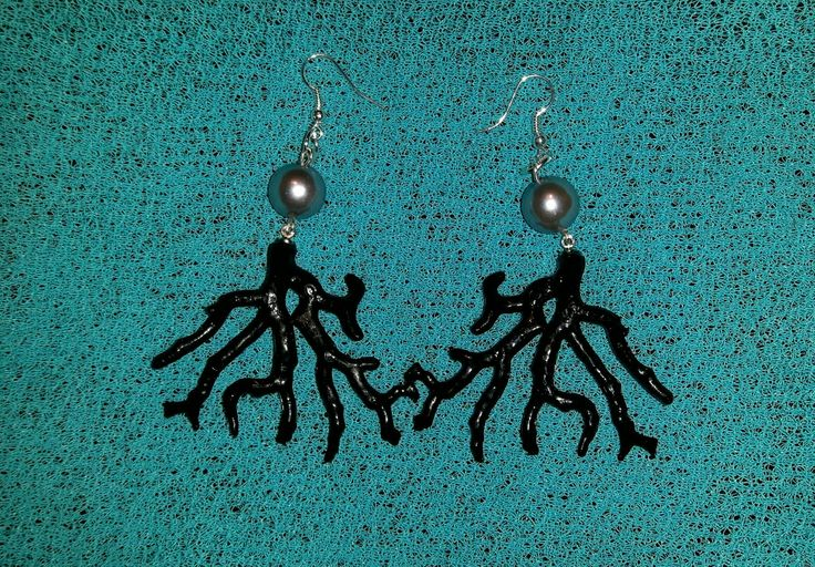 Black coral and grey pearl earings Hand made by Polesse