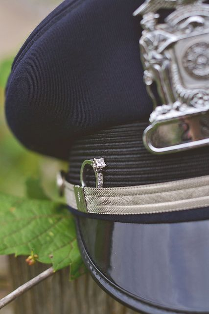Police Officer Patrol Cap Engagement photography https://www.facebook.com/LaceySwearingenPhotography