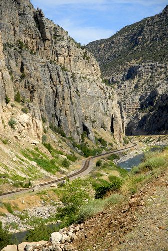 Road below a cliff at Thermopolis. Going through Wind River Canyon on our way to Jackson Hole. 2012