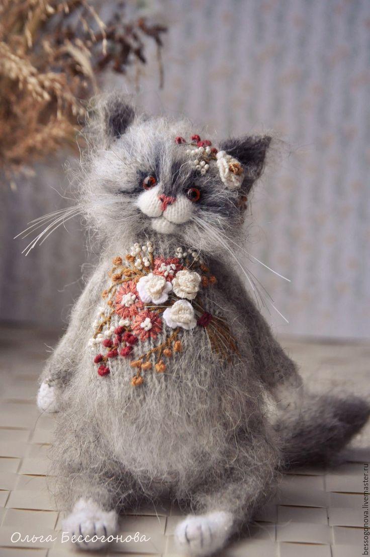 Купить Вышитая шубка серая - кошка, кот, котик, коты и кошки, коты, игрушка кот