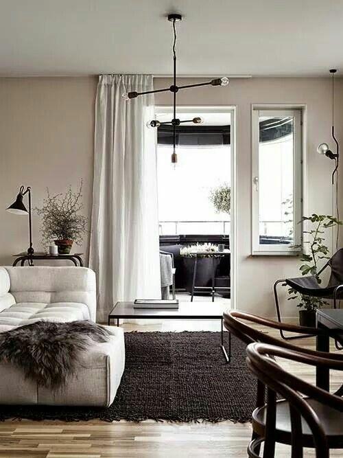 Arredamento, sala, bianco e nero
