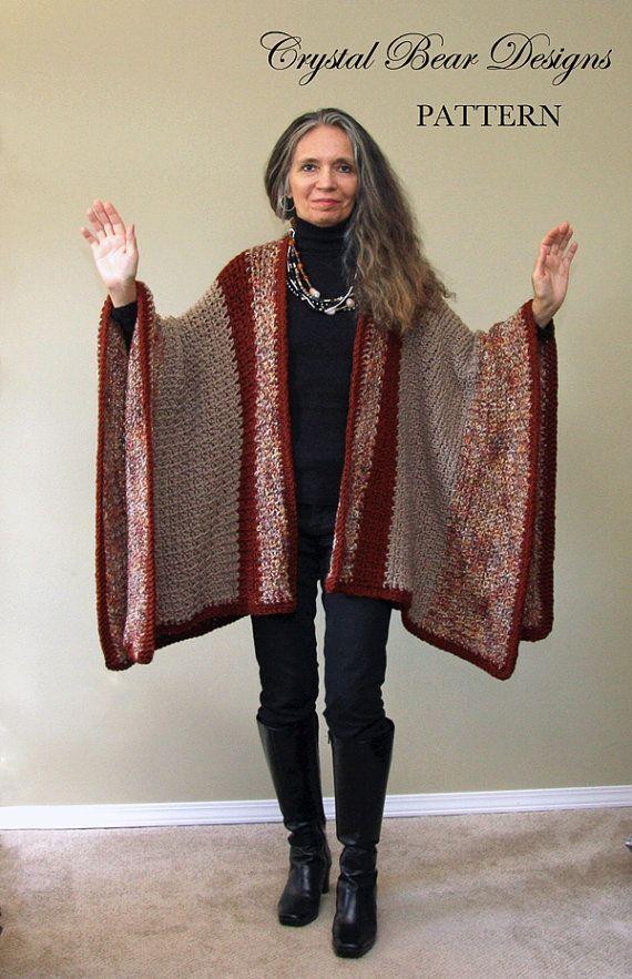 """Poncho Ruana manta patrón del ganchillo / manta de abrigo / fácil ganchillo patrón fabricados en Canadá """"cosecha Ruana"""""""