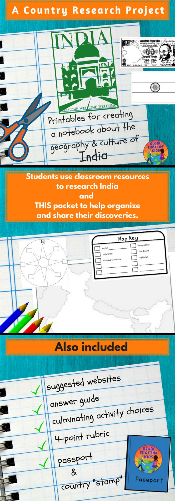 Students complete a variety of activities as they research the geography and culture of India. The activities are glued into a separate notebook (not provided), creating a wonderful artifact to share and keep. Activities include:  maps, country stats, flag, currency, language, food, sports, animals, clothing, important people, holidays, and culminating activity choices. https://www.teacherspayteachers.com/Product/India-1654697