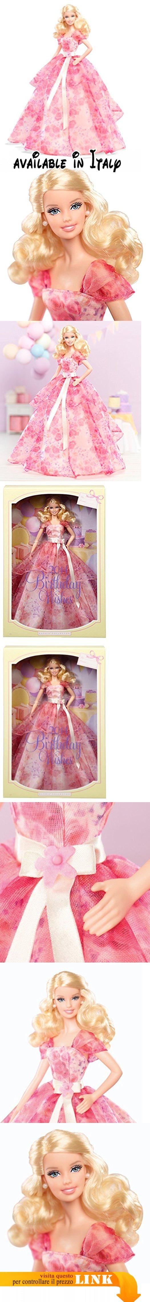 Barbie Collectors BCP64 - Birthday Wishes. Barbie Collector Feliz Cumpleaños. La espectacular melena rubia de Barbie contrasta con su vestido ancho y ligero cuberito de rosas, como en un jardín inglés. Para destacara su cintura, basta con una cinta de satén de color rosa palo. Barbie está simplemente magnífica. ¡Es el regalo de cumpleaños perfecto! #Giocattolo #TOYS_AND_GAMES