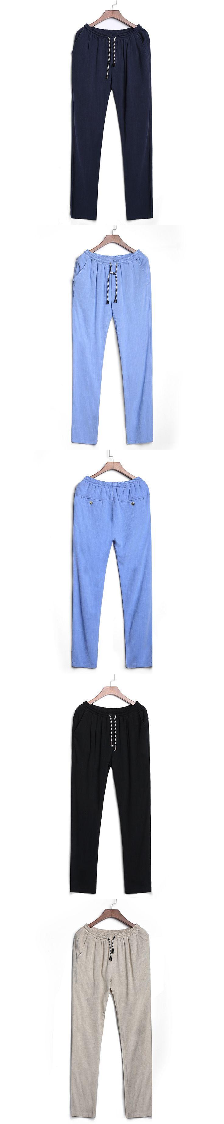 brand-clothing 2017 Mens Linen Pants Loose Cotton Straight Trousers big size men pants 4XL joggers pants Breathable sweatpants