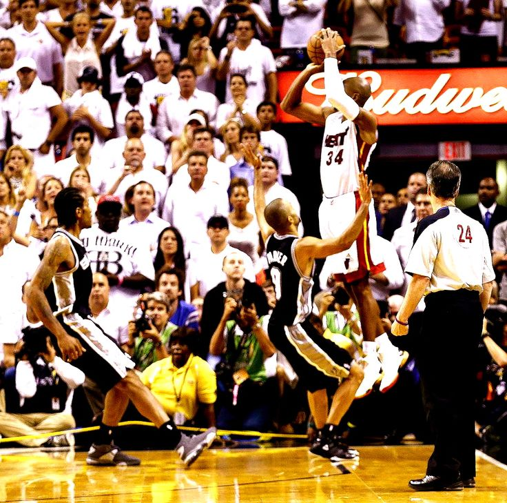 Ray Allen's big shot in NBA Finals. That shot, the Spurs devastation... ** of course saved the day haha