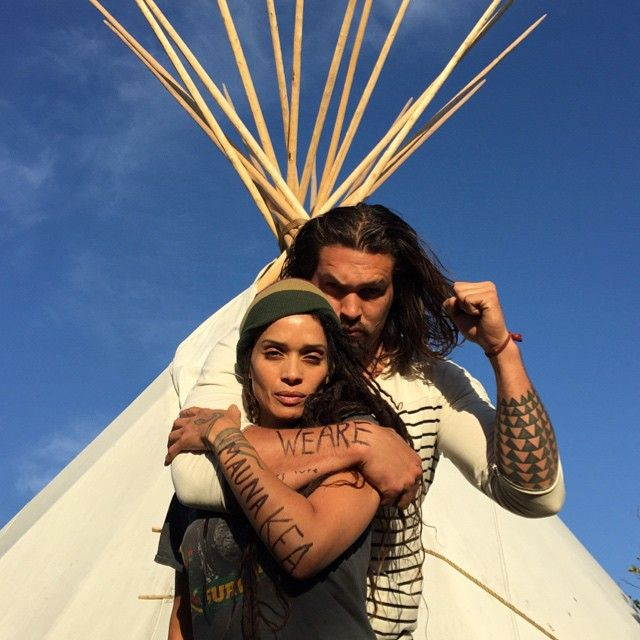 """Game of Thrones"" star   <b>Jason Momoa </b> stands with wife <b>Lisa Bonet</b> in support of blocking construction of a massive new observatory atop Mauna Kea, Hawaii's highest mountain. Momoa, whose father is Native Hawaiian, is encouraging fellow celebrities and people across the globe to join the Protect Mauna Kea movement via social media."