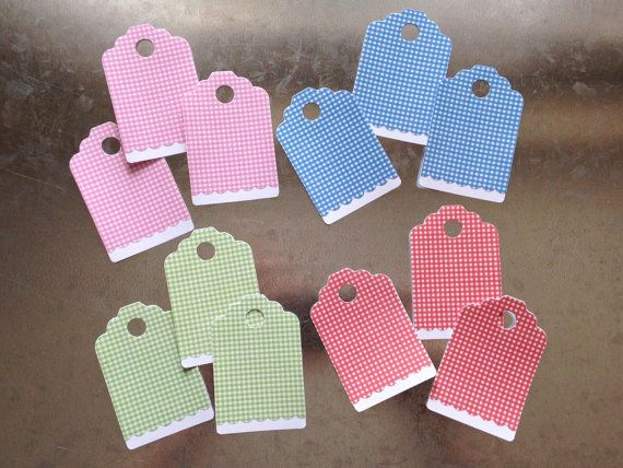 Gingham Assorted Gift Tags 12 Pack by LYHHandmadeGifts on Etsy