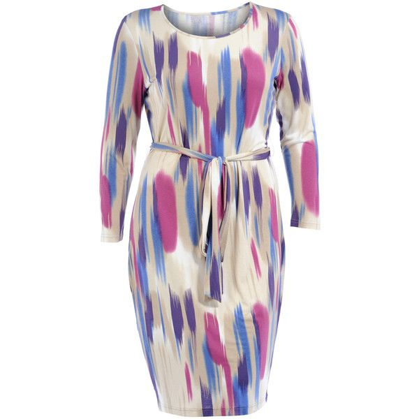 Manon Baptiste Cream / Blue Plus Size Cotton brush stroke dress ($155) ❤ liked on Polyvore featuring dresses, cream, plus size, plus size cotton dresses, pink dress, long sleeve knee length dress, plus size pink dress and knee-length dresses