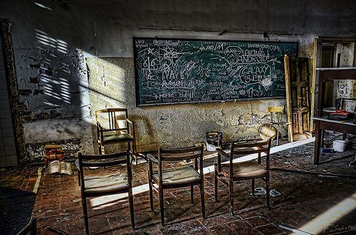 Classroom at Abandoned Building of Els Escolapis d'Alella - Maresme, prov. Barcelona. Catalonia.