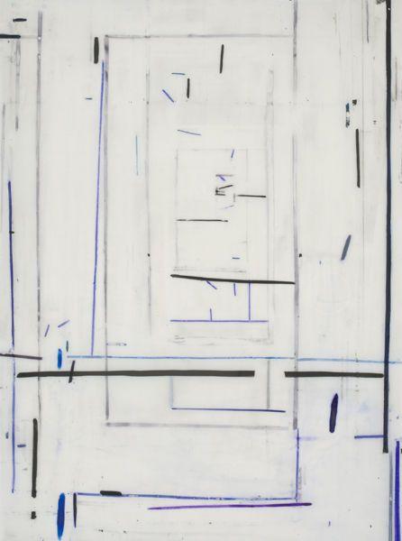 Eve Aschheim, Gesso, black gesso, ink and graphite on Duralene Mylar