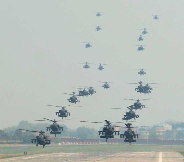 24 AH-64D Longbow Apache attack helicopters with the 4th Aerial Reconnaissance Battalion (Attack), 2nd Aviation Regiment, 2nd Combat Aviation Brigade conduct a mass landing at Camp Humphreys, South Korea on Apr. 18. [960x845]