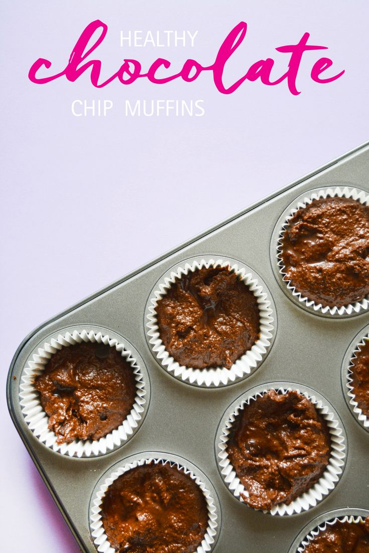 Healthy Double Chocolate Chip and Banana Muffins