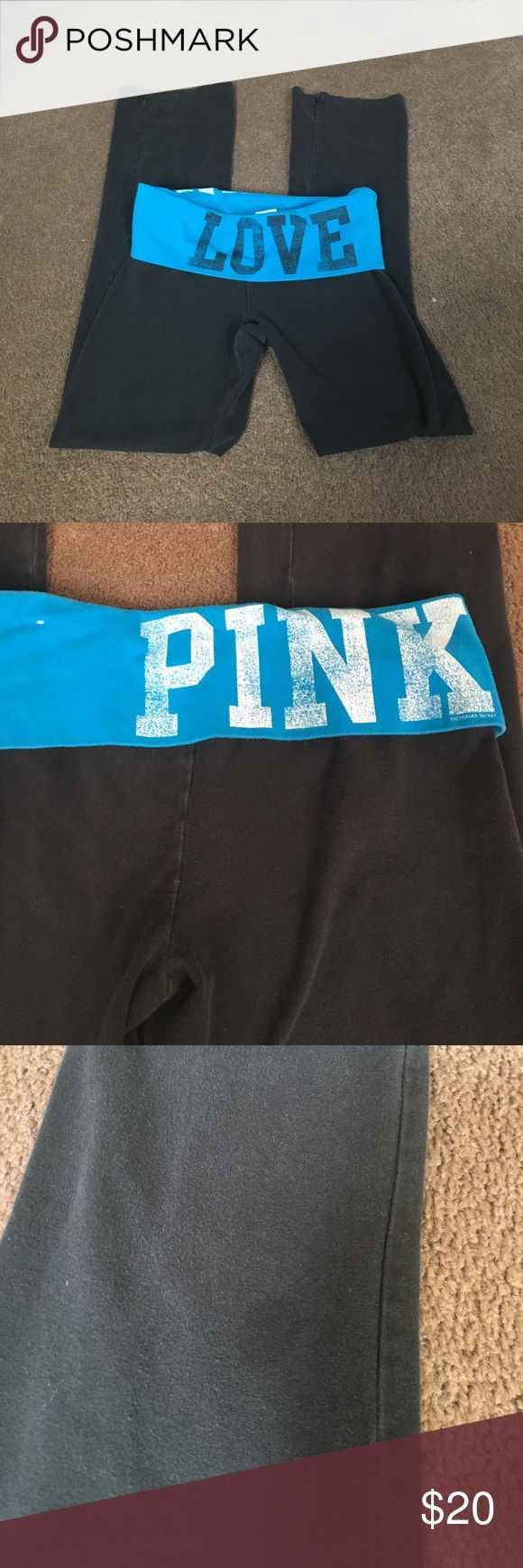 VS PINK YOGA PANTS READ DESCRIPTION 🌸VS PINK YOGA PANTS, size medium!                                           🌸Small dark stain on the front as shown, and they have some fade to them PINK Victoria's Secret Pants Leggings