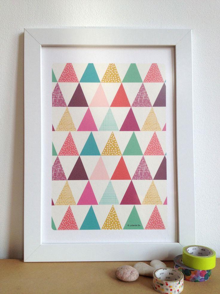 Poster Triangles colorés et géométriques, affiche format 21x29,7 cm
