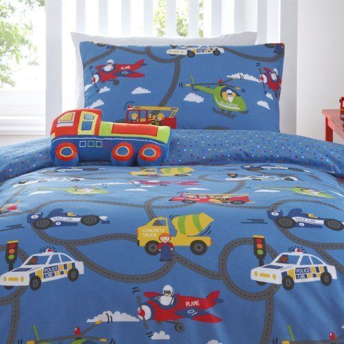 On The Road Car Blue Boys Childrens Duvet Quilt Cover Bedding Set