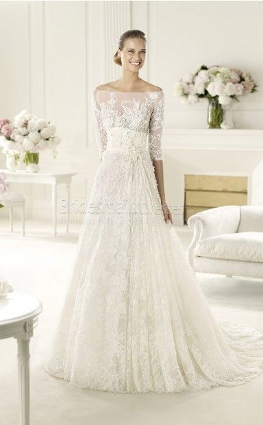 Glamorous A-line Lace,Satin Off The Shoulder Half Sleeve Floor-length With Sweep Train Wedding Dress(UKSCW03-378)
