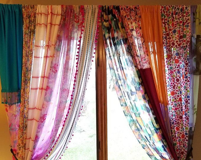Indian Rag Curtains Etsy In 2020 Bohemian Curtains Hippie