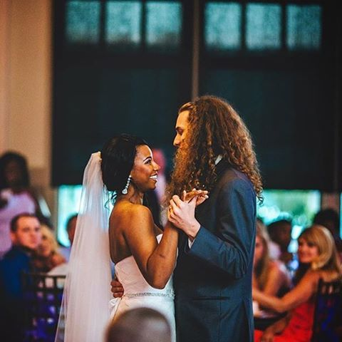 Beautiful interracial couple during their first dance as husband and wife #love #wmbw #bwwm