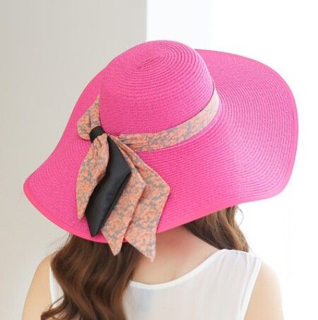Floral bow floppy straw hat for women UV wide brim design beach hats