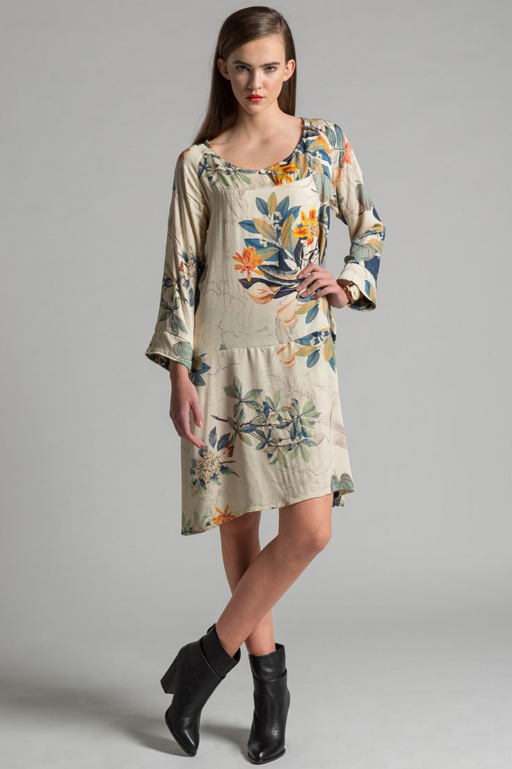 City Lights Dress by Allison Wonderland.  Floral print loose fitting dropped waist dress. Made in Canada.