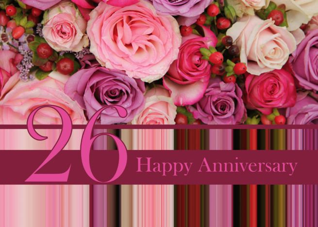 26th Wedding Anniversary Card Pastel Roses And Stripes Card