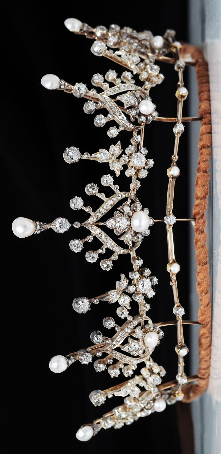 Silver And Gold Tiara C1880 With Natural Pearls And Diamonds, With  Original Box