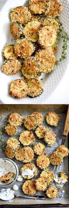Baked Zucchini Parmesan Crisps - Like the fried zucchini you'll find at old school burger shacks, I serve these babies with homemade ranch dressing for dipping. | http://foodiecrush.com