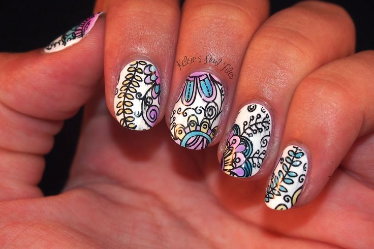 Kelsie's Nail Files: INAD: Leadlight Nail Art using stamping plate and filling in with OPI sheer tints topcoats