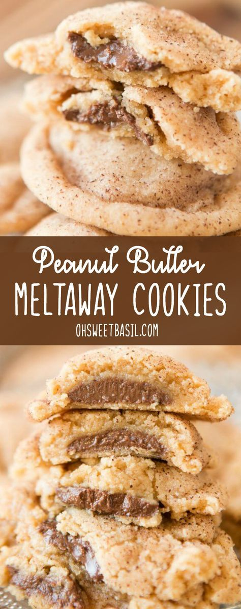 These are the best peanut butter cookies I've ever had. Peanut Butter Meltaway Cookies are soft peanut butter cookies, stuffed with chocolate and rolled in cinnamon sugar! via @ohsweetbasil