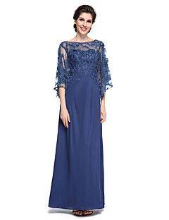 Gelin elbise 2017 lanting bride® kılıf / sütun anne - zarif / ayak bileği uzunluğu boyunca bakın yarım kollu şifon / dantel – USD $ 255.00