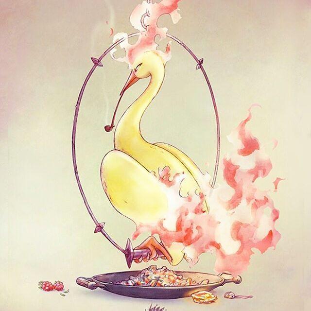 Legendary Domesticated:  Moltres  #pokemon #moltres #bird #smoking #pipe #yellow #fire #work #ccxp #ccxp2016 #legendary #art #fanart #valor #pokemongo #anime #illustration #watercolor #digitalart #character #lira #ricardolira