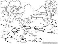 Gambar Mewarnai Pemandangan Alam Sungai Yang Jernih Dipegunungan
