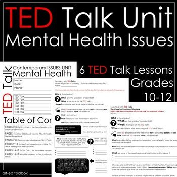 This TED Talk Unit (6 TED Talk lessons) is appropriate for a Psychology or Health course.  Six TED Talk lessons included in this bundle focus on the topic of MENTAL HEALTH.  What is included in this product? -Instruction page -Cover page (pdf and editable PPT) -6 TED Talk Lessons:  _Getting Stuck in the Negatives (and How to Get Unstuck), Allison Ledgerwood  -How Childhood Trauma Affects Health Across a Lifetime, Nadine Burke Harris  -Overcoming Hopelessness, Nick Vujicic  -Texting That…