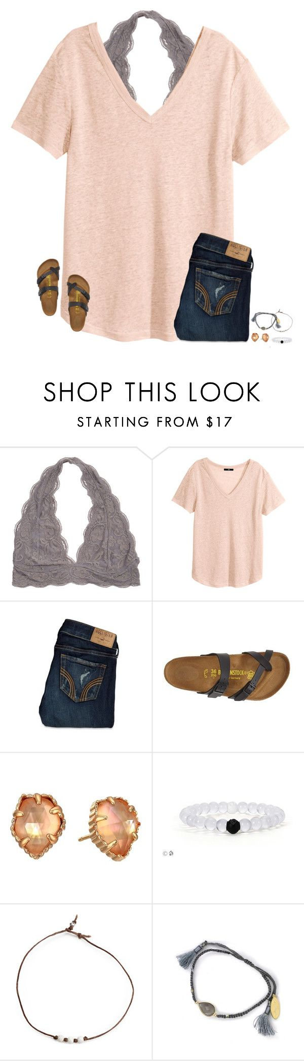 """❤️"" by secfashion13 ❤ liked on Polyvore featuring H&M, Hollister Co., Birkenstock, Kendra Scott and Feather & Stone"