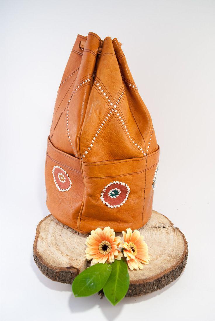 Brown leather sack purse, boho style, bucket bag, boho bag, country western…