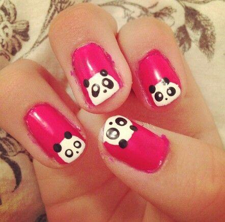 Nagellak kunst / roze / panda / nail art / pink / panda
