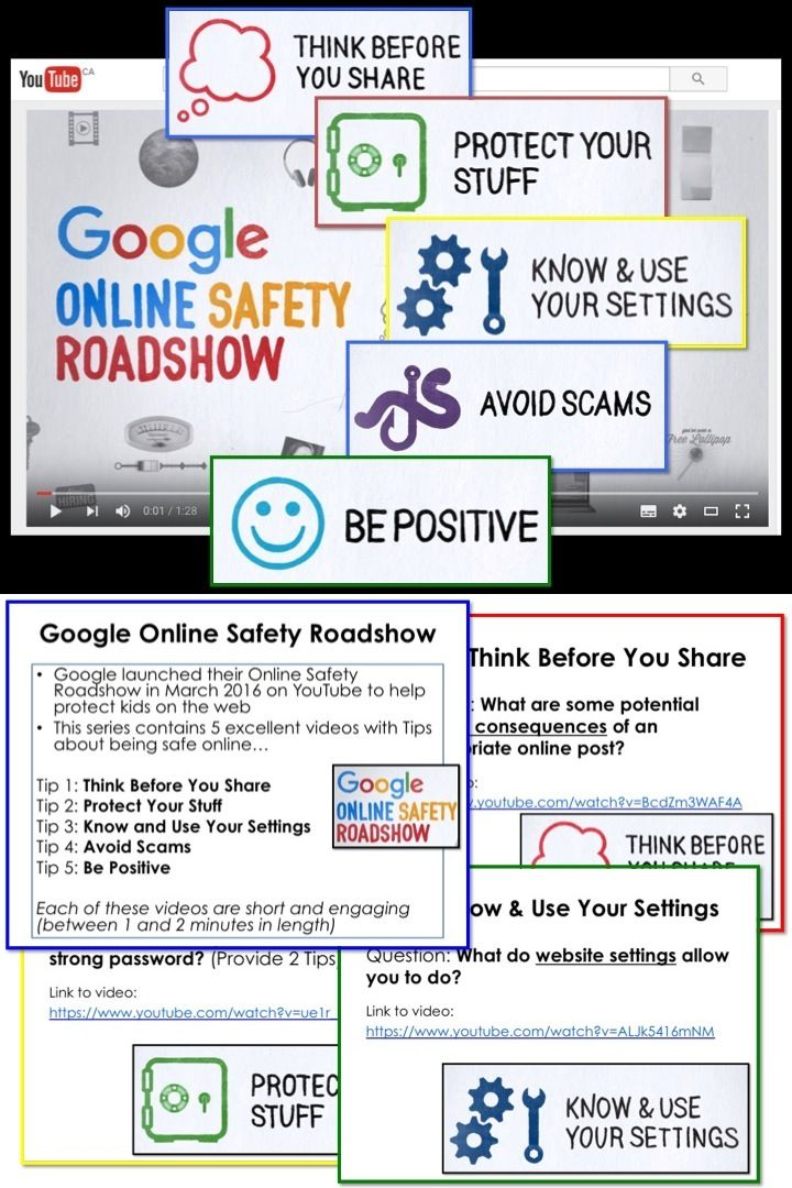 Google recently launched their Online Safety Roadshow on YouTube to help protect kids on the web.  This series contains 5 excellent videos with tips for staying safe online…  Tip 1: Think Before You Share Tip 2: Protect Your Stuff Tip 3: Know and Use Your Settings Tip 4: Avoid Scams Tip 5: Be Positive