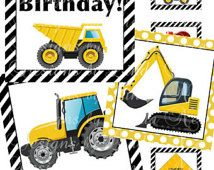 INSTANT DOWNLOAD Construction Party Printable 2 Inch Square Cupcake Toppers - Boy's Birthday Party - Labels  Printable Party Packages Labels