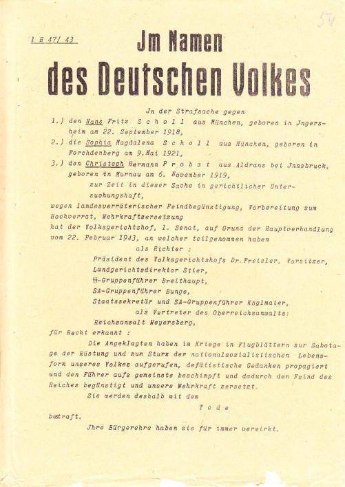 Bundesarchiv - Sophie und Hans Scholl, zum Tode verurteilt am 22.02.1943