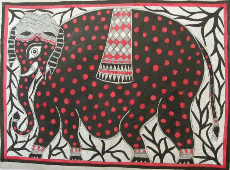 A beautifully painted elephant in 30 inches x 22 inches on handmade paper